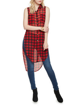Gingham Tunic Top with High Low Hem - RED/BLK - 1008067330708