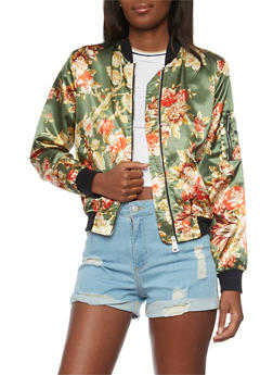 Satin Floral Bomber Jacket with Rib Knit Trim - 1008067332178