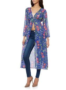 Floral Cinched Waist Maxi Top - 1008074290123