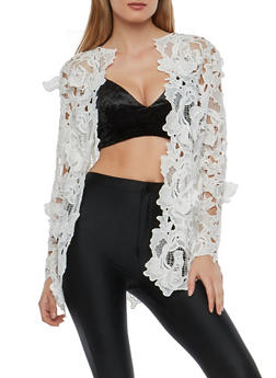 Crochet Lace Open Front Jacket - 1008074290143