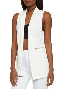 Sleeveless Open Front Vest - IVORY - 1009051064668