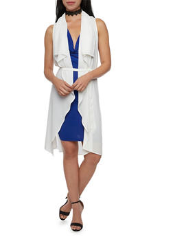 Belted Duster with Draped Open Front - WHITE - 1009067330443