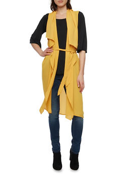 Belted Duster with Draped Open Front - 1009067330443
