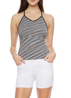 Textured Space Dye Tank Top with Caged Back - 1010038341042