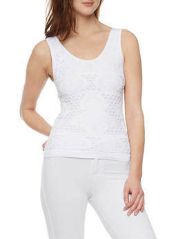 Crochet Knit Tank Top - WHITE - 1010038341045