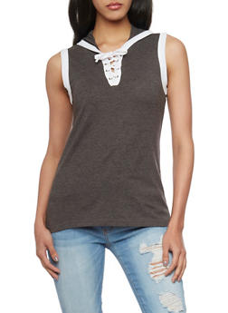 Sleeveless Lace Up V Neck Hooded Top - 1011033879361