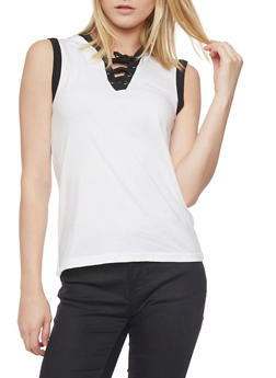 Sleeveless Lace Up V Neck Hooded Top - WHITE/BLK - 1011033879361