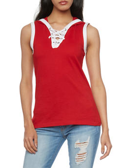 Sleeveless Lace Up V Neck Hooded Top - RED/WHT - 1011033879361
