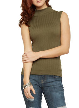 Sleeveless Cable Knit Top - 1011038341023