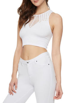 Lasercut Rib Knit Crop Top - WHITE - 1011038341052