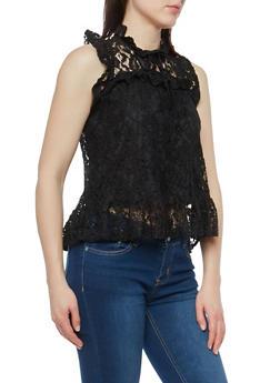 Sleeveless Lace Top with Flounce Hem - 1011054265854