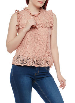 Sleeveless Lace Top with Flounce Hem - 1011054265854