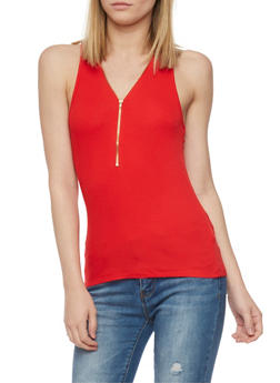 Half Zip Front Rib Knit Tank Top - 1011054268625