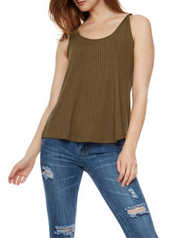 Solid Rib Knit Tank Top - OLIVE - 1011054268808