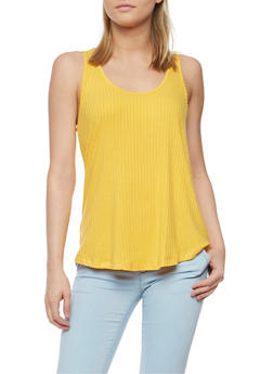 Solid Rib Knit Tank Top - 1011054268808