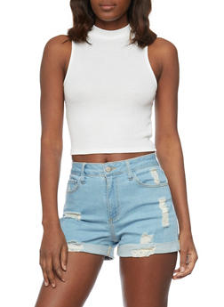 Rib Knit Mock Neck Crop Top with Back Zip Up - WHITE - 1011054269460