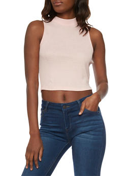 Rib Knit Mock Neck Crop Top with Back Zip Up - BLUSH - 1011054269460
