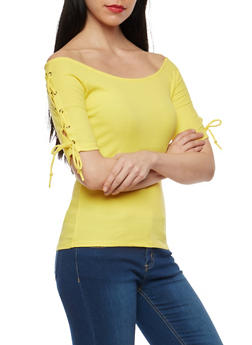 Lace Up Sleeve Ribbed Knit Top - 1011054269710