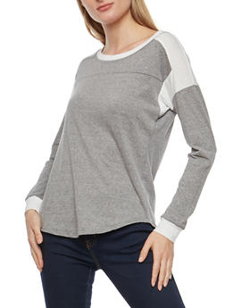 Basic Marled Color Block Long Sleeve Top - 1012015994705