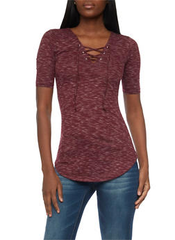 Marled Short Sleeve Lace Up Tunic Top - BERRY - 1012015998780