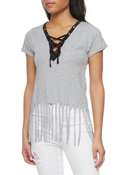 Short Sleeve Lace Up V Neck T Shirt with Fringe Hem - 1012033870151