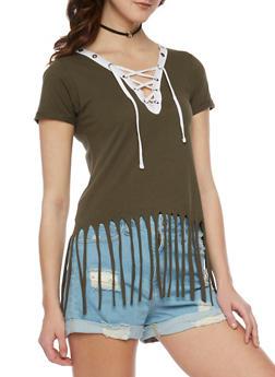 Short Sleeve Lace Up V Neck T Shirt with Fringe Hem - OLIVE - 1012033870151