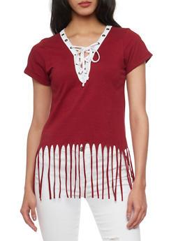 Short Sleeve Lace Up V Neck T Shirt with Fringe Hem - 1012033870151