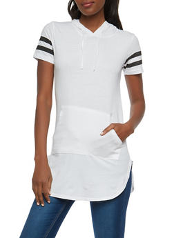 Varsity Stripe Hooded Tunic - WHITE - 1012033878951