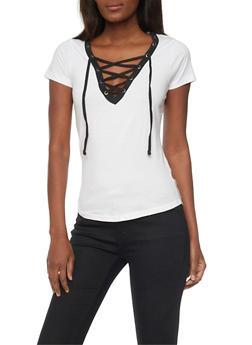 Lace Up V Neck T Shirt with Slashed Back - WHITE/BLK - 1012033879661