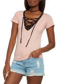 Lace Up V Neck T Shirt with Slashed Back - MAUVE/BLK - 1012033879661