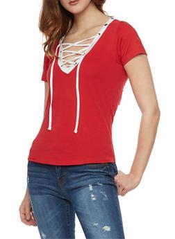 Lace Up V Neck T Shirt with Slashed Back - RED/BLK - 1012033879661