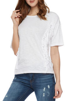 Crew Neck T Shirt with Fringe Details - WHITE - 1012033879691