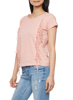Crew Neck T Shirt with Fringe Details - 1012033879691