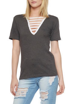 Ladder Caged V Neck T Shirt - 1012033879791