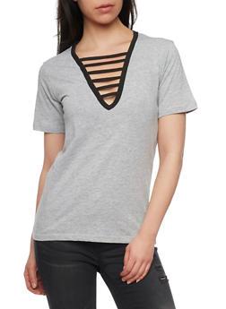 Ladder Caged V Neck T Shirt - 1012033879791