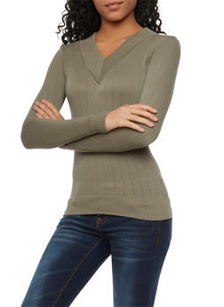 Knit V Neck Top with Long Sleeves - 1012038341033
