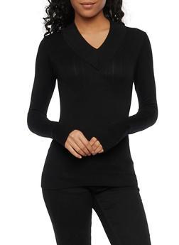 V Neck Sweater in Ribbed Knit - 1012038341034