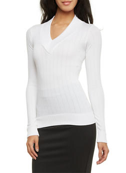 V Neck Sweater in Ribbed Knit - WHITE - 1012038341034