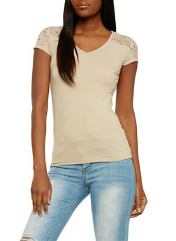 Short Sleeve V Neck Top with Lace Shoulders - 1012054260370