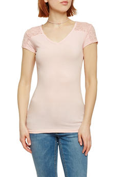 Short Sleeve V Neck Top with Lace Shoulders - BLUSH - 1012054260370