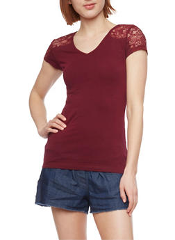 Short Sleeve V Neck Top with Lace Shoulders - BURGUNDY - 1012054260370