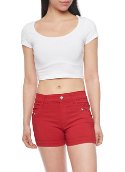 Solid Short Sleeve Crop Top - WHITE - 1012054263900