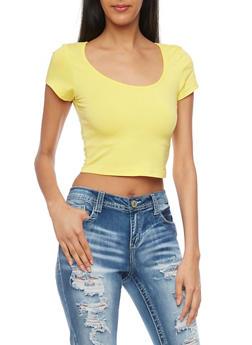 Solid Short Sleeve Crop Top - 1012054263900