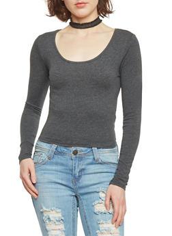 Long Sleeve Crop T Shirt - CHARCOAL - 1012054264026