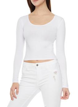 Long Sleeve Crop T Shirt - WHITE - 1012054264026