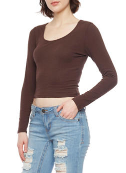 Long Sleeve Crop T Shirt - 1012054264026