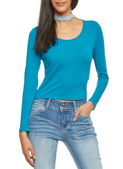 Long Sleeve Crop T Shirt - TEAL - 1012054264026