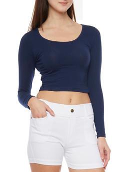 Long Sleeve Crop T Shirt - NAVY - 1012054264026