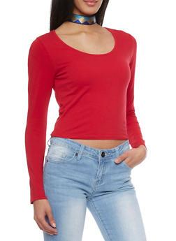 Long Sleeve Crop T Shirt - RED - 1012054264026