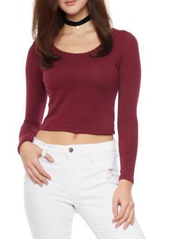 Long Sleeve Crop T Shirt - BURGUNDY - 1012054264026